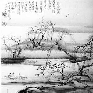 木雕图案 线描杨花