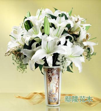 白色双头香水百合8枝瓶插花嘉兴鲜花速递嘉善鲜花
