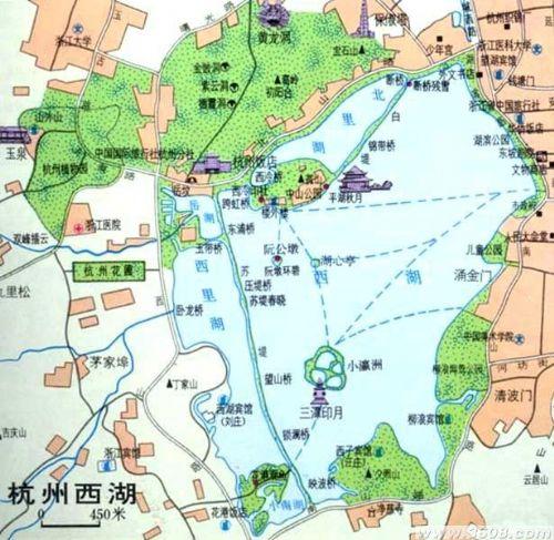 西湖景区地图手绘