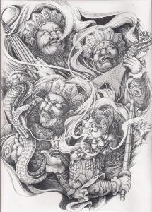 四大天王; 纹身手稿图案009; 纹身手稿