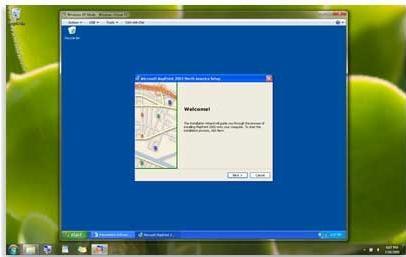 """单击位于 windowsxp 模式窗口顶端的""""关闭""""按钮 ."""