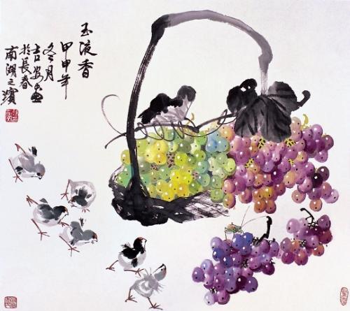 2006年5月,孙吉安应邀赴北京人民大会堂现场作画,创作了巨幅葡萄作品