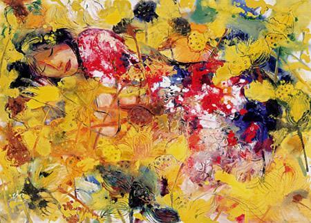 西方油彩画+和中国的彩画的融合重构