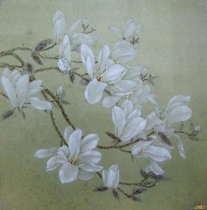 著名工笔画《玉兰》是我国现代著名花鸟画家于希宁创作的,此作细笔
