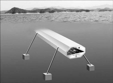 阿基米德桥示意图  阿基米德桥学名为水中悬浮隧道.不过,...