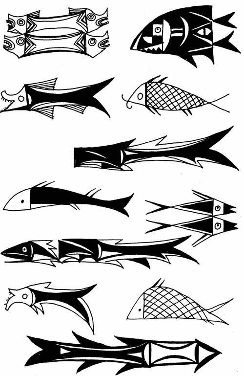 三鱼纹彩陶盆简笔画