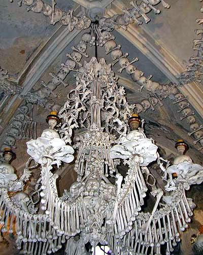 室内手绘人骨教堂速写