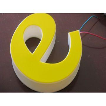 2,吸塑发光字:亚克力板加热压制成字后,内部放入光源制成.图片
