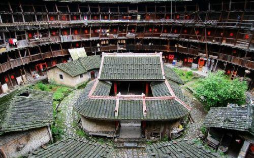 手绘土楼建筑结构