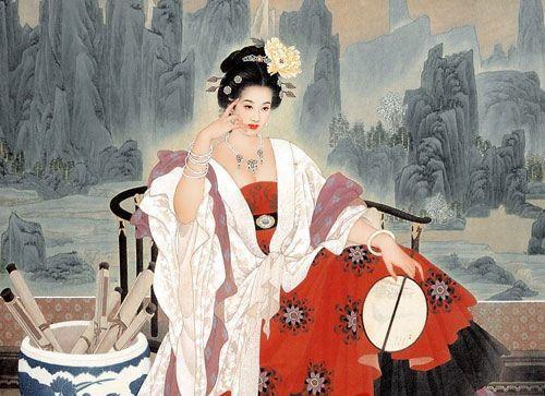 古代美女梳妆打扮图片手绘