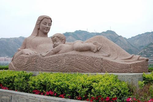 黄河母亲雕塑手绘图