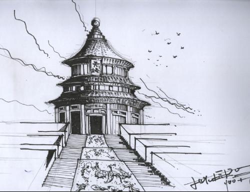 广州塔彩色手绘