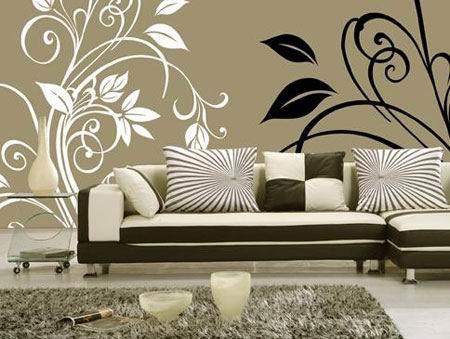欧式沙发背景黑白墙绘图片素材
