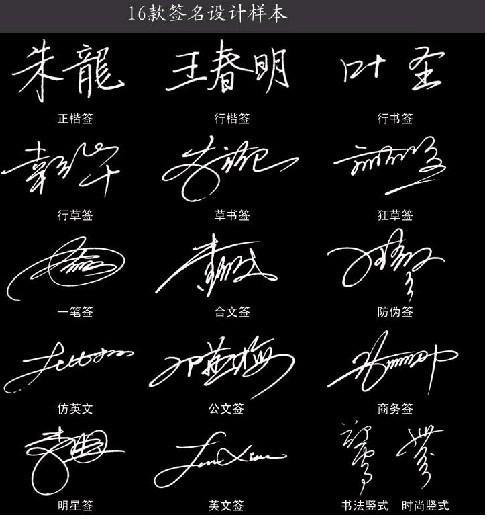 所谓签名设计就是设计签名,一般人写名字只是通过一般的汉字规则图片