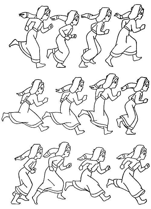 手绘人体走路姿势