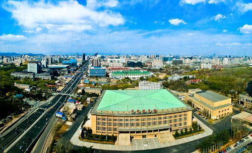 北京动物园,西望紫竹院公园和中国国家图书馆