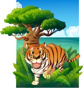 老虎奔跑矢量图