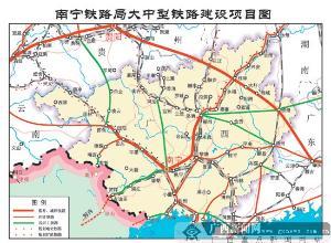 我们从南宁铁路局规划图可以清晰的看到 (500x367); 广西7条高铁2012