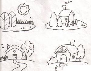 风景简笔画是描绘自然景象和人类改造大自然面貌的一