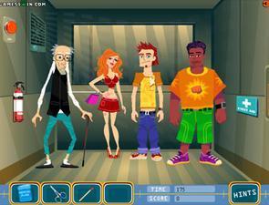 小游戏简介:电梯里这个坏小子想亲美女