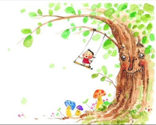 秋千的卡通女孩设计图片素材