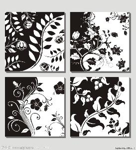动物变形黑白装饰画