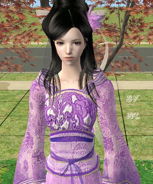 紫衫古典美女手绘