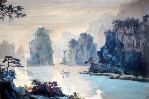 桂林山水(水粉)