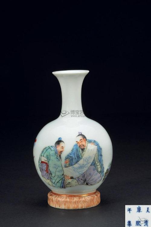 1392; 汪晓棠;; 汪晓棠新粉彩人物瓶 - - 陶瓷类 - 惠风和畅—