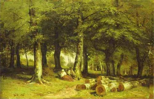 油画作品; 手绘油画希施金缱; 手绘风景树林油画 asl215