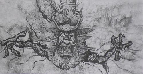 东方月初手绘铅笔画