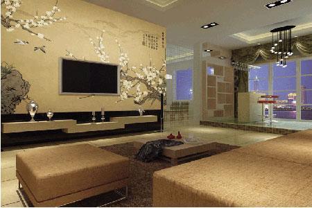 欧式客厅刺绣墙布效果图