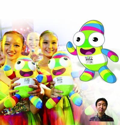 """2014年南京青奥会(第二届夏季青年奥林匹克运动会)吉祥物""""砳砳""""在南京图片"""