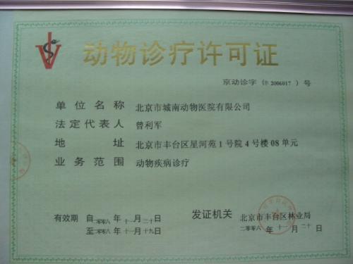 动物诊疗许可证