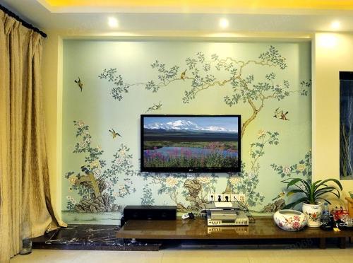 电视背景墙画 手绘墙纸