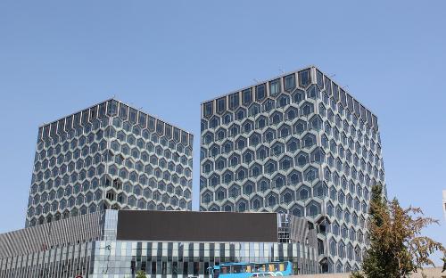 内部无立柱,以国内罕有的钢结构晶状六边形外立面