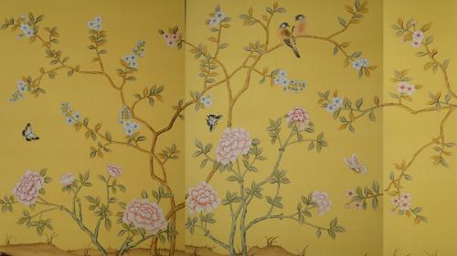 王室91.5x260真丝手绘墙纸 高档手绘丝绸壁纸; 供应王室91.