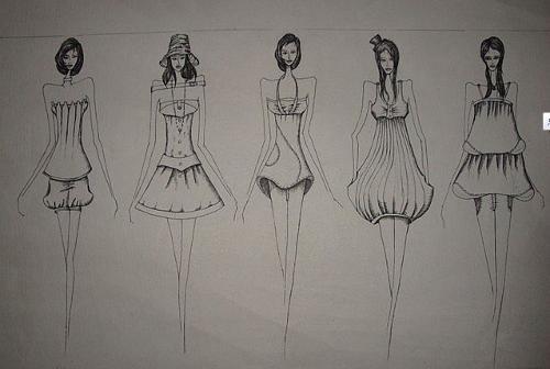 中学生休闲服装简笔画