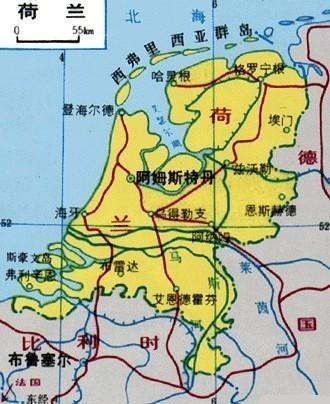地图:荷兰; 阿姆斯特丹;  荷兰地图