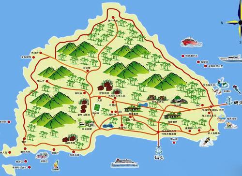 蜈支洲岛地图; 海南三亚的旅游地图!