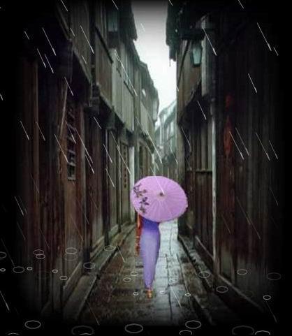 江南雨巷油纸伞手绘