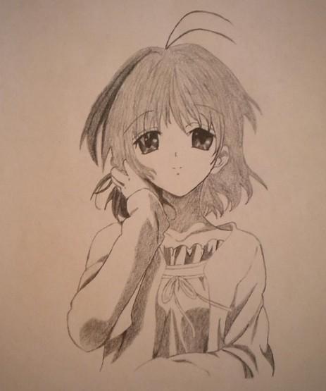 手绘动漫人物铅笔画女