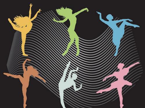舞蹈剪影 曲线; 失量人物舞者; 矢量图片