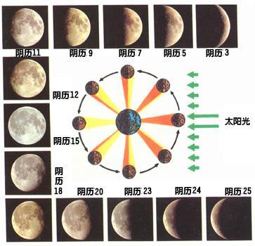 月相变化图手绘图简单