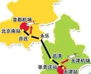 京津地图京津城际铁路是中国最早开工建设并将最先建成的第一条高