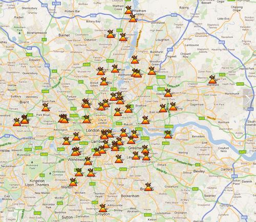谷歌地图上显示的伦敦骚乱地点