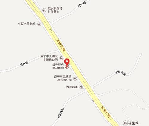 咸宁现代男科医院地图示意医院地址:咸宁长安大道126号(区林业局
