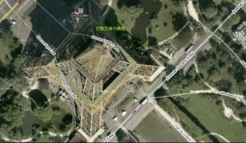 巴黎埃菲尔铁塔3d视图
