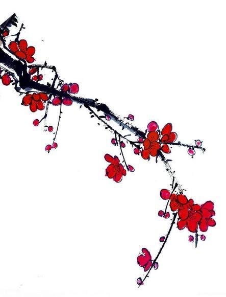 一朵梅花水墨画
