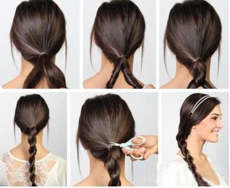然后把马尾辫分成两个部分; 长发如何扎好看 欧美简约编发发型图片